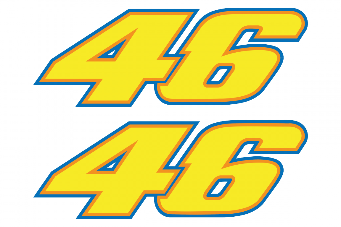 Sticker 46 valentino rossi - Racing Number 46 Stickersfull Color Print Set Of 2