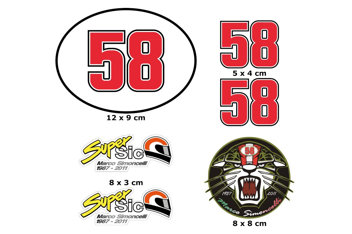 In remembrance of Marco Simoncelli 58 Full color print, set of 2 stickersReady to use sticker ...