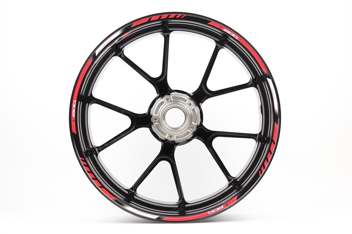 rim striping specialgp kawasaki z800 in the colors red  white and black with a set of z800 rim