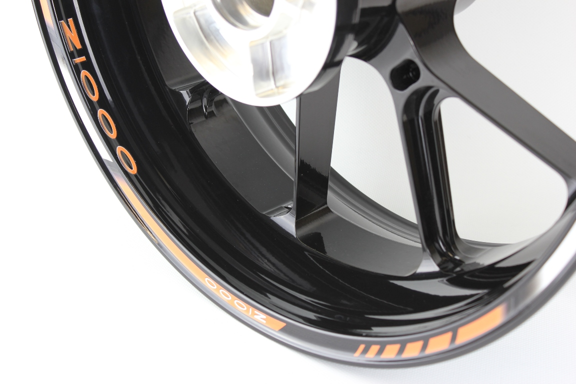 Rim Striping SpecialGP Kawasaki Z1000 In The Colors Orange White And Black With A Set Of Logos
